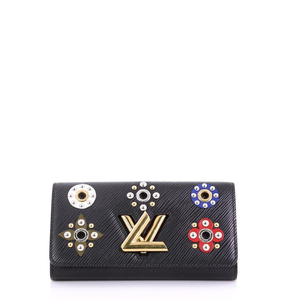 9bd8d403888 Louis Vuitton Twist Wallet Limited Edition Floral Patchwork Epi Black  Leather Clutch