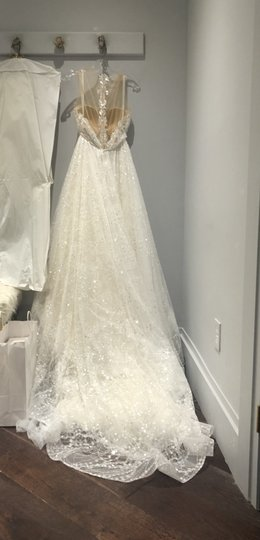 Berta Bridal White Tulle and Sequins Embellished Plunging V-neck Gown Style 16-07 Modern Wedding Dress Size 6 (S) Image 6