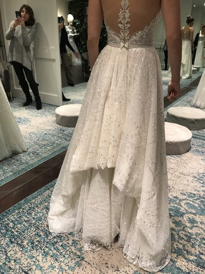 Berta Bridal White Tulle and Sequins Embellished Plunging V-neck Gown Style 16-07 Modern Wedding Dress Size 6 (S) Image 7
