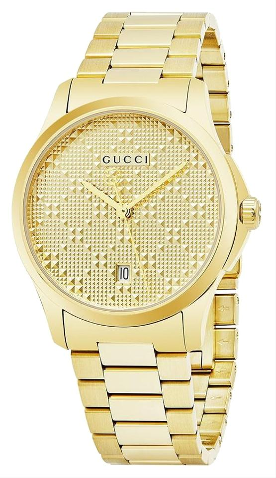 efe83ff40e3 Gucci Gold G-timeless Stainless Diamante Dial Ya126461 Watch - Tradesy