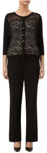 Planet No Pockets No Belt Loops Polyester Sleek Elegant Trouser Pants Black