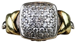 Lagos Lagos Diamond Lux 925 Sterling Silver 18K Gold X Caviar Ring SZ 7
