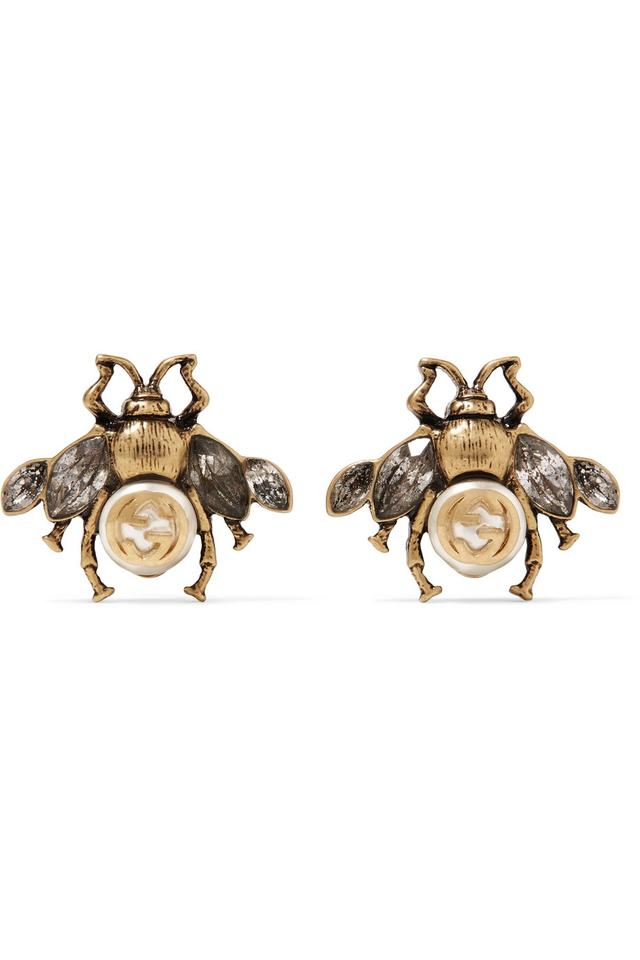7553bf9ad Gucci Burnished gold-tone, faux pearl and crystal earrings Image 0 ...