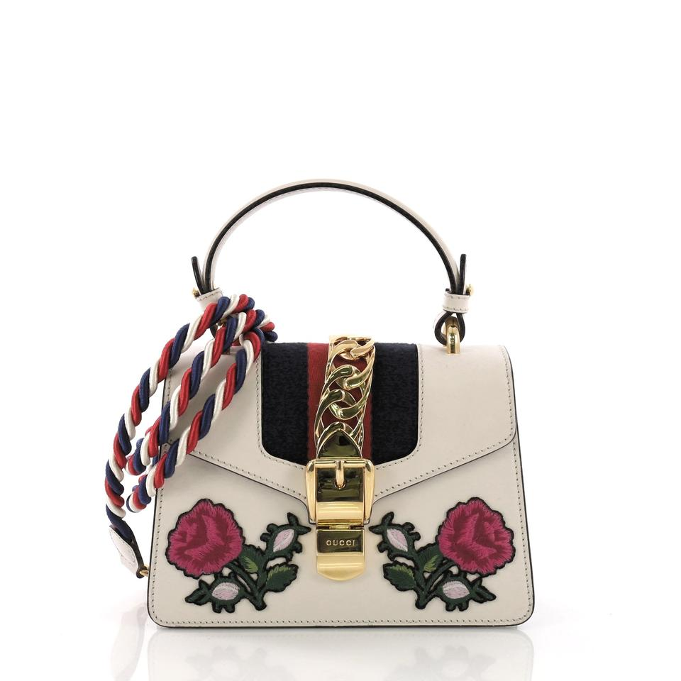 903255930916 Gucci Sylvie Top Handle Bag Embroidered Mini White Leather Tote ...