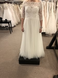 Wtoo Ivory/Oyster Tulle/Lace Filippa--11701 Casual Wedding Dress Size 14 (L)