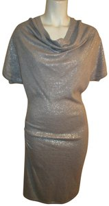 Calvin Klein Knit Metallic Cowl Neck Short Sleeve 003 Dress