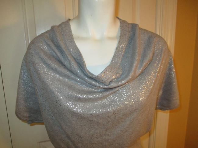 Calvin Klein Knit Metallic Cowl Neck Short Sleeve 003 Dress Image 1