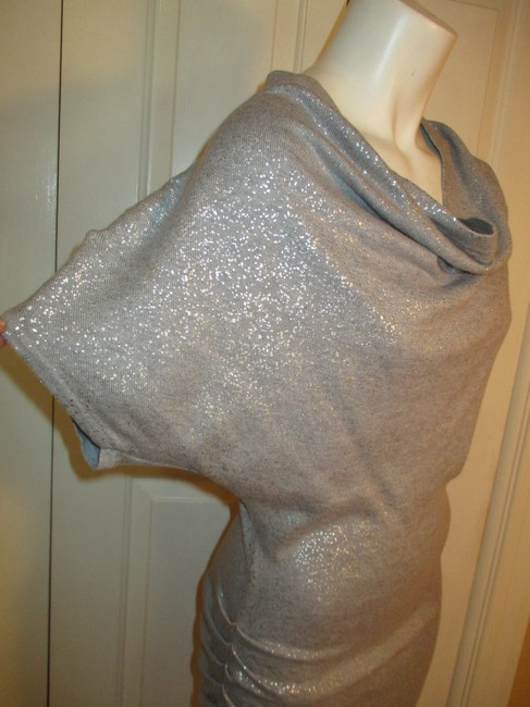 Calvin Klein Knit Metallic Cowl Neck Short Sleeve 003 Dress Image 3