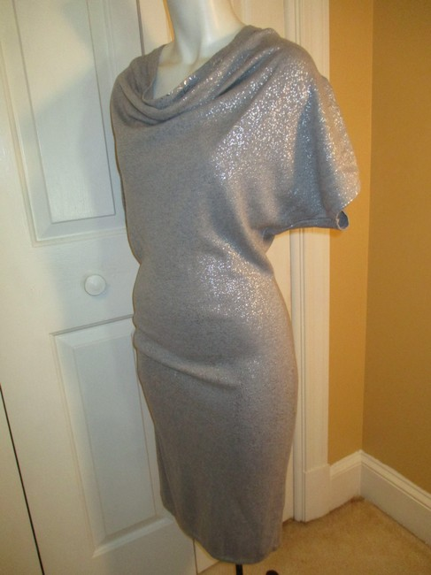 Calvin Klein Knit Metallic Cowl Neck Short Sleeve 003 Dress Image 7