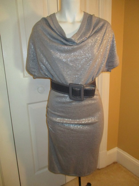 Calvin Klein Knit Metallic Cowl Neck Short Sleeve 003 Dress Image 9