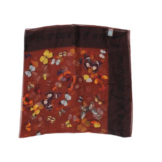 Dolce&Gabbana Sheer Silk Multicolor Butterfly Print Square 90cm Scarf Image 1