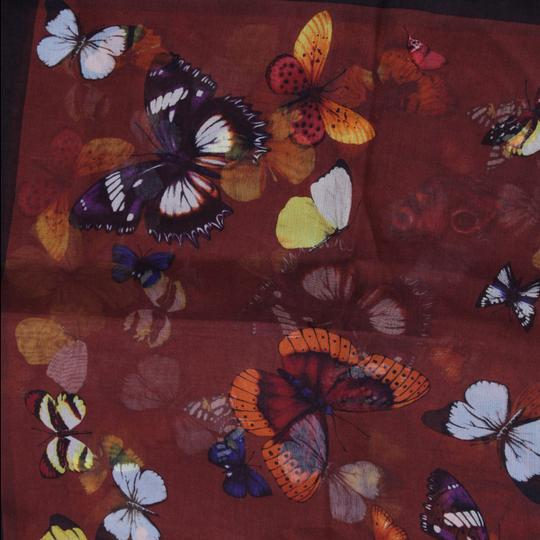 Dolce&Gabbana Sheer Silk Multicolor Butterfly Print Square 90cm Scarf Image 3