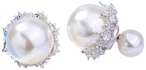 Couture Studio DOUBLE WHITE PEARL TRIBAL EARRINGS STERLING SILVER POST RHINESTONE 13m