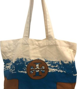 Tory Burch off white, tan and turquoise Beach Bag