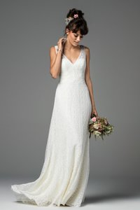Wtoo Ivory Beaded Lace Brighton 58110b Casual Wedding Dress Size 14 (L)