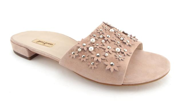 Item - Shimmer Diamond Blush Suede Leather Pearl and Daisy Studded Slide Sandals Size US 8 Regular (M, B)