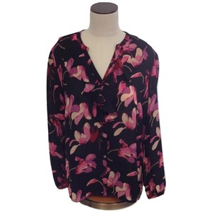 Windsmoor Floral Longsleeve V-neck Polyester Top Multi-Color