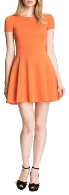 Item - Orange Heritage Crisscross Neck Ponte Mini Sleeve Short Cocktail Dress Size 8 (M)