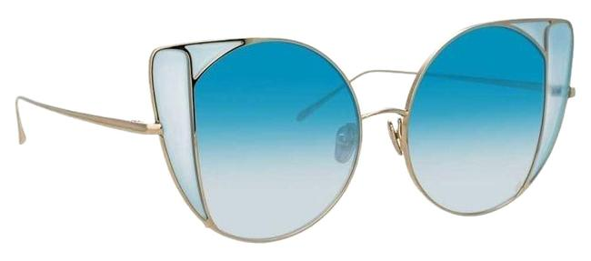 Linda Farrow C7 Gold and Blue 854 Austin Oversized Lightweight Cat Eye Sunglasses Linda Farrow C7 Gold and Blue 854 Austin Oversized Lightweight Cat Eye Sunglasses Image 1