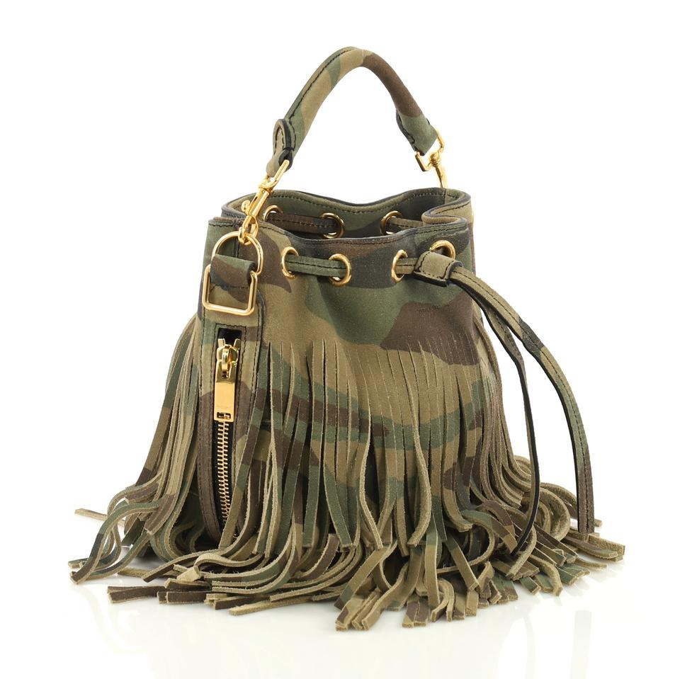 222f7ca488d5 Saint Laurent Emmanuelle Fringe Bucket Printed Small Camouflage Suede Shoulder  Bag