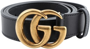 Gucci Gucci Leather Black Belt With GG Buckle