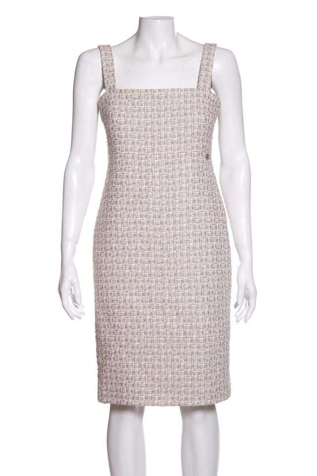 eb1f15d7d77 Chanel Cream Tweed Knee-length Short Casual Dress Size 6 (S) - Tradesy