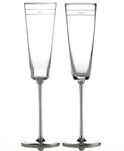 Kate Spade Silver New York Set Of 2 Darling Point Toasting Flutes