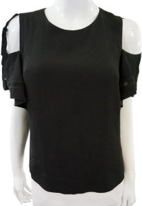 Rebecca Taylor Cold Shoulder Top Black