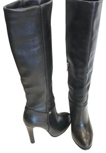 Tory Burch Leather Gold Hardware Gold Chic Classic Black Boots