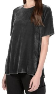 Eileen Fisher Jewel Neck Short Sleeves Back Keyhole Top Gray