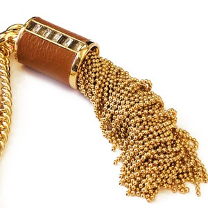 Henri Bendel New Henri Bendel GOLD Bead Tassel & Leather Necklace CZ Baguettes