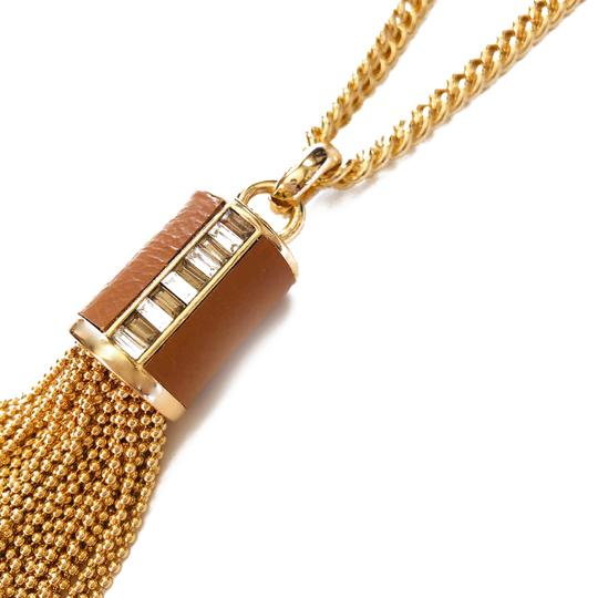 Henri Bendel New Henri Bendel GOLD Bead Tassel & Leather Necklace CZ Baguettes Image 6