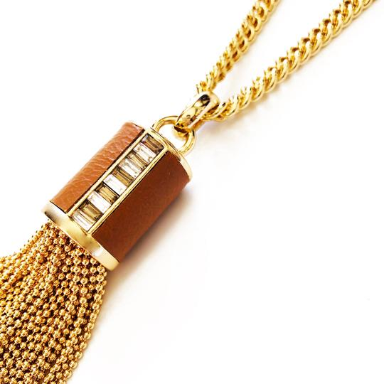 Henri Bendel New Henri Bendel GOLD Bead Tassel & Leather Necklace CZ Baguettes Image 7