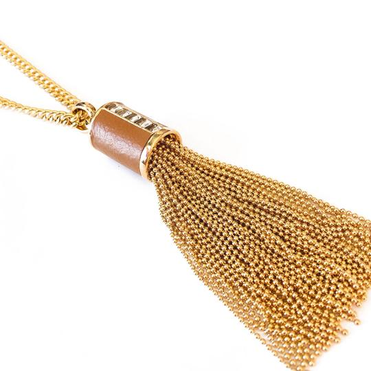 Henri Bendel New Henri Bendel GOLD Bead Tassel & Leather Necklace CZ Baguettes Image 9