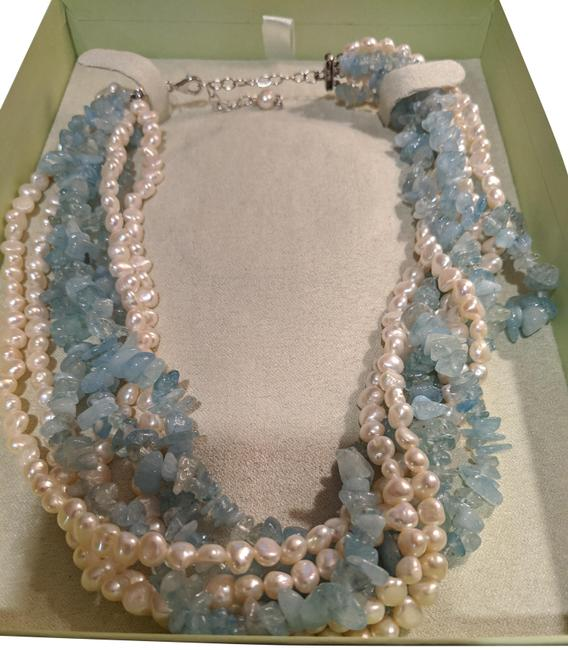 Item - Green Aquamarine and Pearl Torsade Necklace