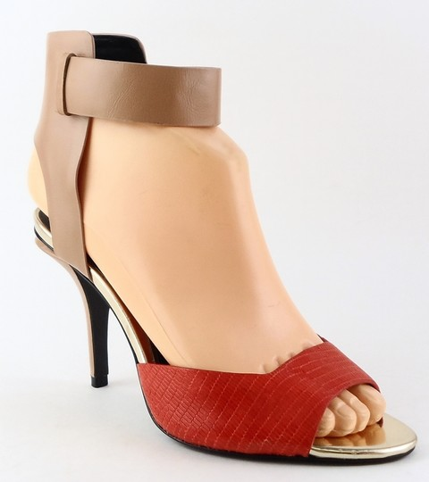 Kenneth Cole Leather Red Tan Open Toe Black Sandals Image 1