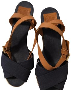 Tory Burch blue and brown Wedges
