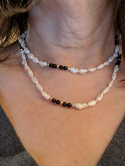 Becker's Freshwater rice pearls with onyx and gold beads Image 1