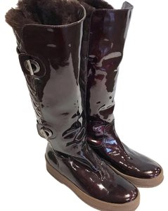Aquatalia Patent Patent Leather Leather Rubber Casual Brown Boots