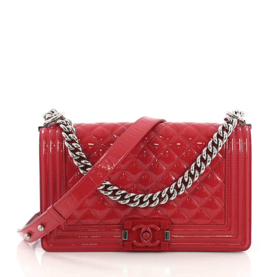 59e71399bdae Chanel Classic Flap Boy Quilted Plexiglass Old Medium Red Patent ...