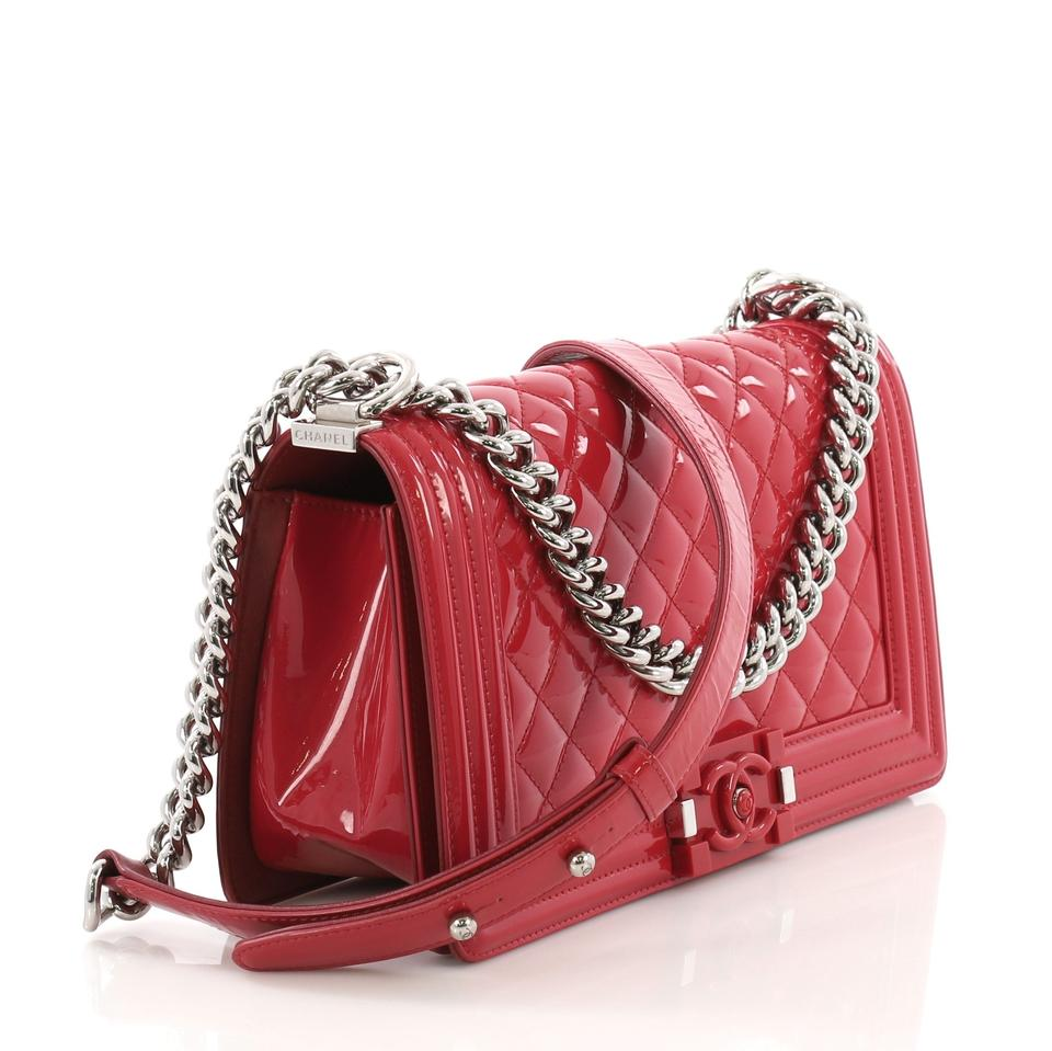6204e07f2383 Chanel Classic Flap Boy Quilted Plexiglass Old Medium Red Patent Leather  Shoulder Bag - Tradesy
