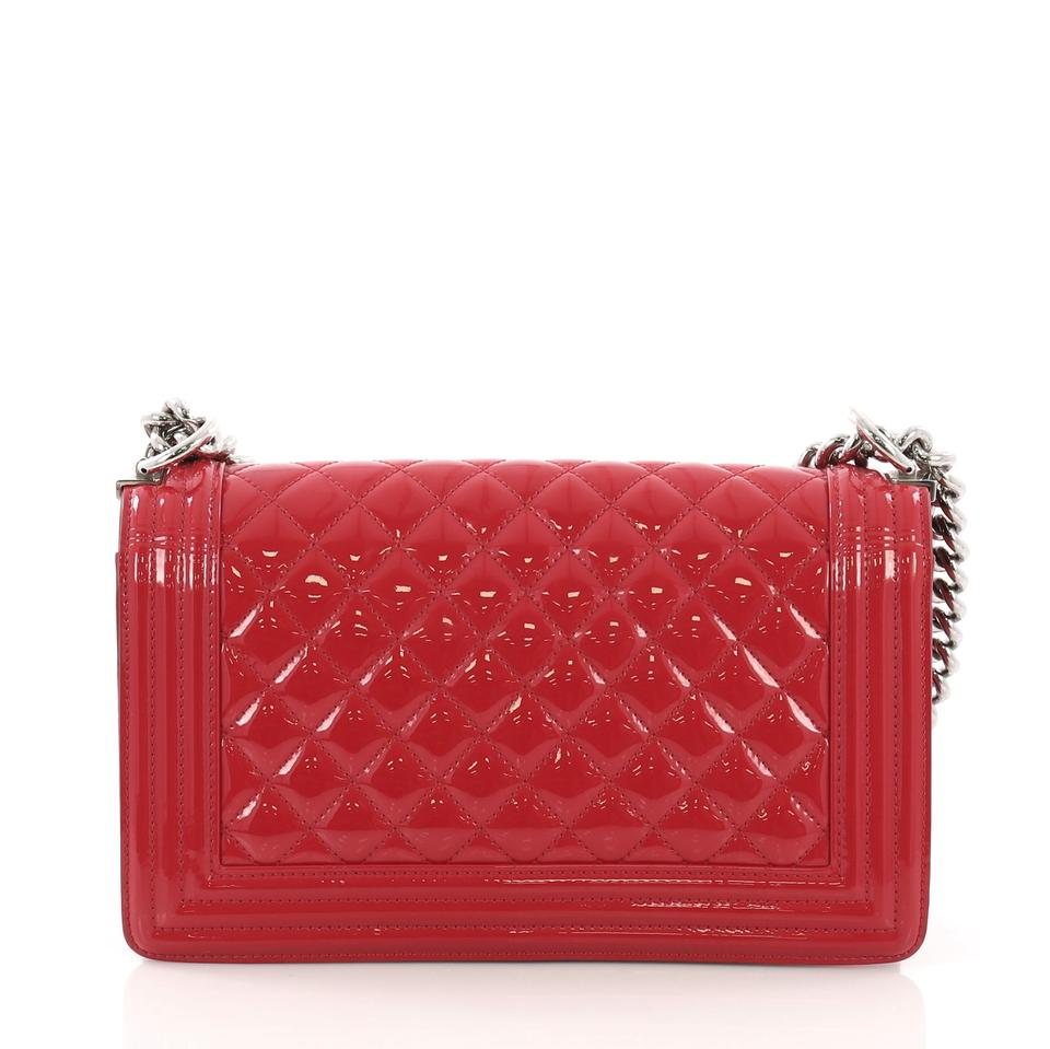 7500cb2c595a Chanel Classic Flap Boy Quilted Plexiglass Old Medium Red Patent Leather  Shoulder Bag - Tradesy