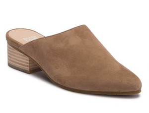 Eileen Fisher Almond Toe Slip On Suede Upper Lightly Padded Stacked Heel Sienna Mules