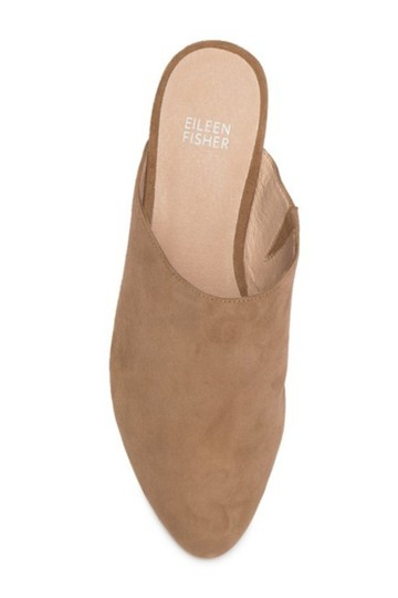 Eileen Fisher Almond Toe Slip On Suede Upper Lightly Padded Stacked Heel Sienna Mules Image 1