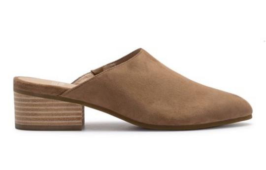 Eileen Fisher Almond Toe Slip On Suede Upper Lightly Padded Stacked Heel Sienna Mules Image 2