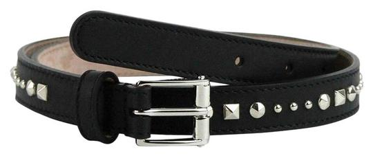 Gucci Women's Silver Buckle Studded Black Leather Skinny Belt 380561 1000 Image 0