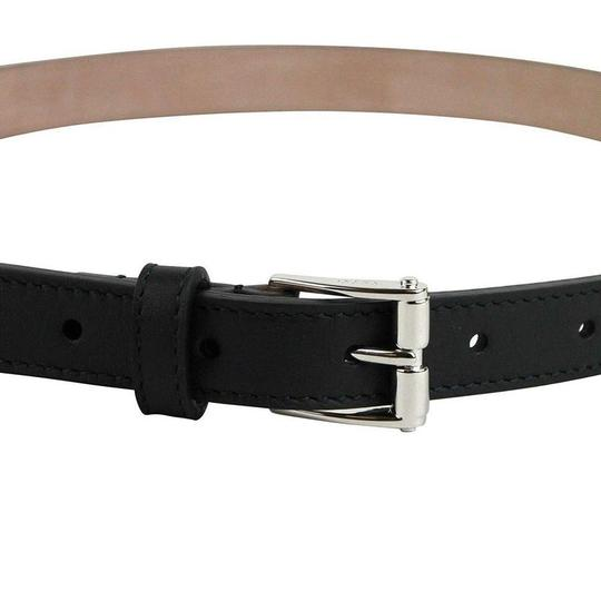 Gucci Women's Silver Buckle Studded Black Leather Skinny Belt 380561 1000 Image 1