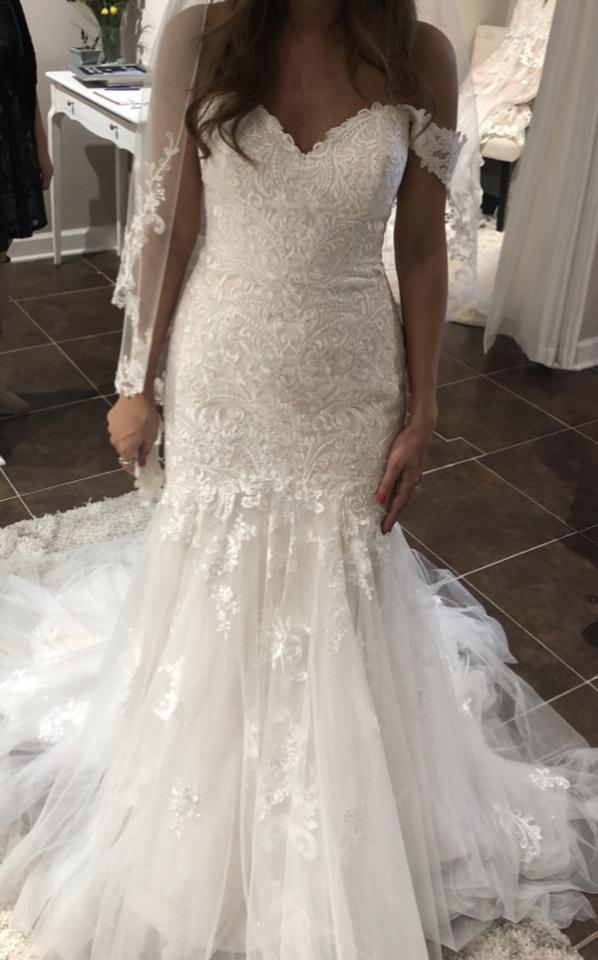 aa22136d8c5 Stella York Ivory Lace and Tulle Over Gown Lace and Tulle Over Almond Gown  White Lace ...