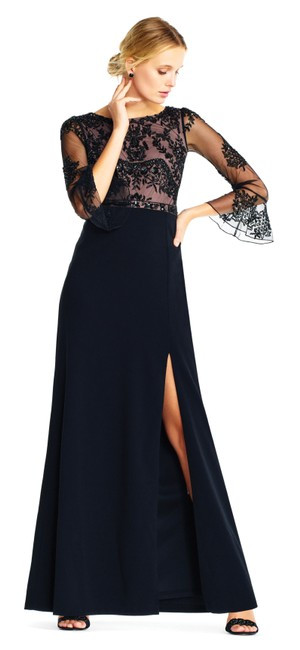 Preload https://img-static.tradesy.com/item/24814561/adrianna-papell-black-embellished-ruffle-sleeve-mesh-crepe-gown-long-formal-dress-size-2-xs-0-0-650-650.jpg