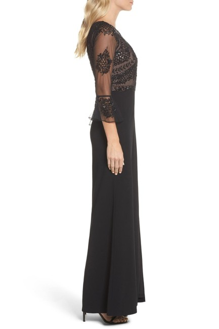 Adrianna Papell Embellished Ruffle Gown Slit Dress Image 1